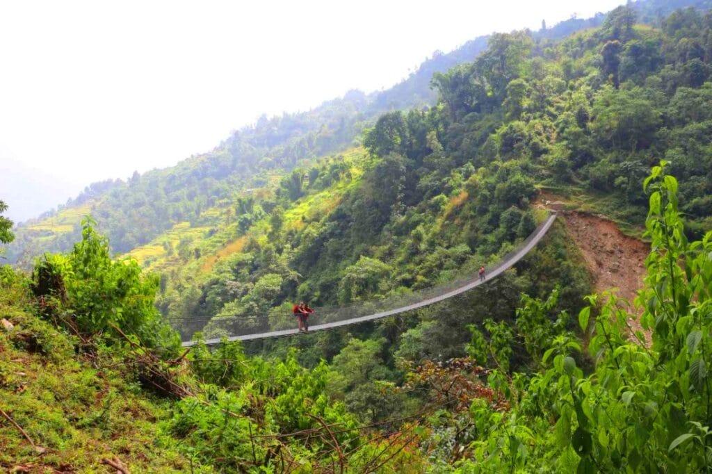 Hängebrücke in Nepal in der Annapurna Region
