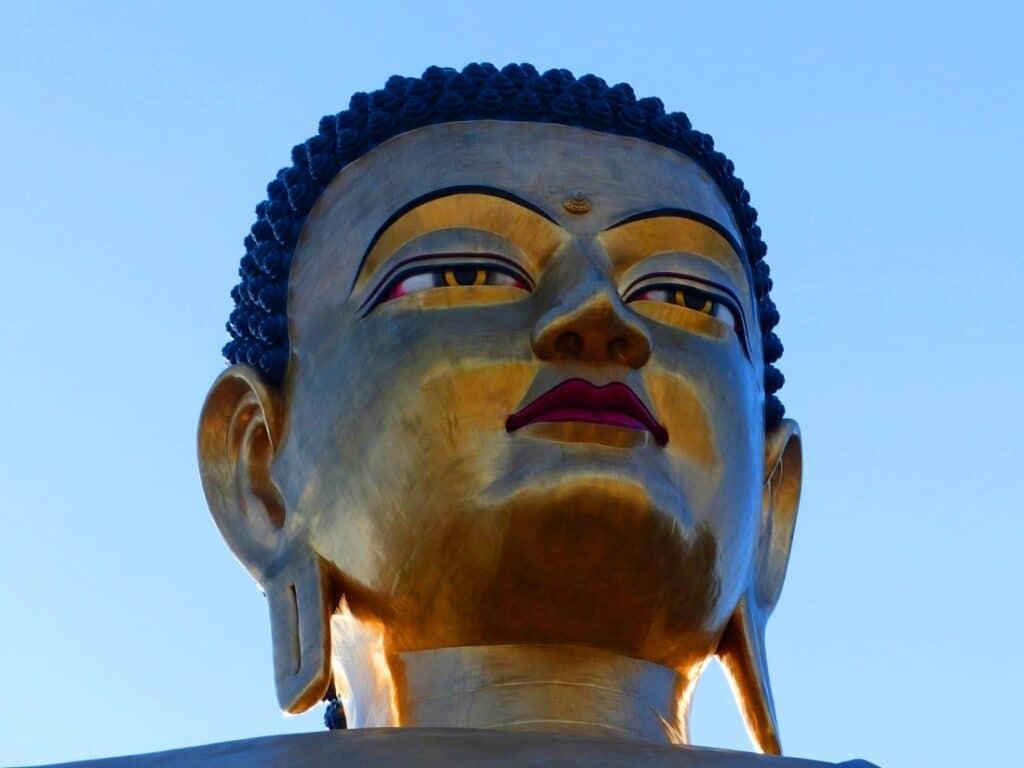 Buddha Gesicht von der größten Statue in Bhutan