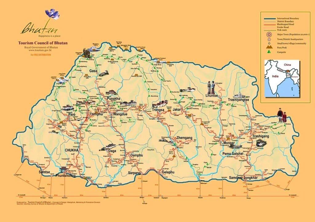 Landkarte von Bhutan mit Ortsnamen